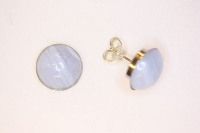 Agat blonde sølv ørestikker med 12mm stein