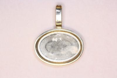 Anheng oval 13x18mm høy kant Sølv
