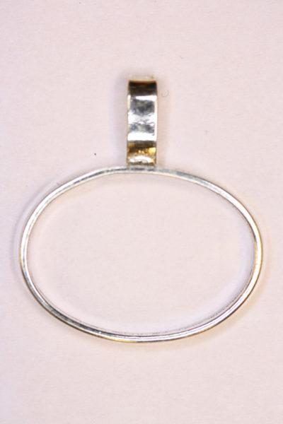 Anheng oval 18x25mm 3mm bånd Sølv