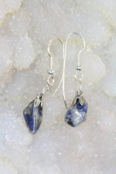 Aventurin blå øreheng tulipan med sølvkrok 2 steiner