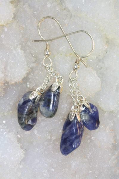 Aventurin blå øreheng tulipan med sølvkrok 4 steiner