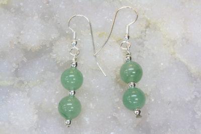 Aventurin grønn øreheng kule med sølvkrok 2x8mm stein