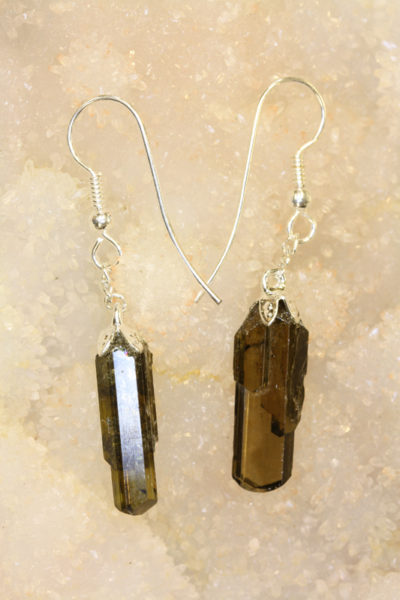 Epidot øreheng krystall med sølvkrok 2 krystaller