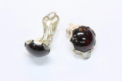 Granat rød sølv øreclips med ø 10mm stein