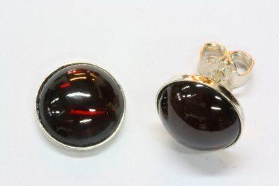Granat rød sølv ørestikker med ø 10mm stein