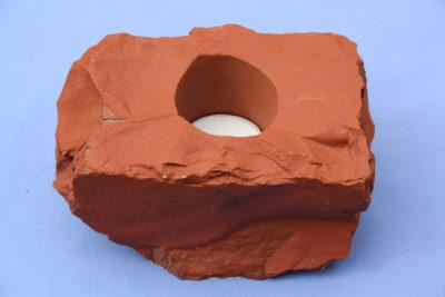 Jaspis brun T lys holder 1.2kg 7.5cm høy