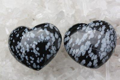 Obsidian prestekrage lommehjerte  45mm