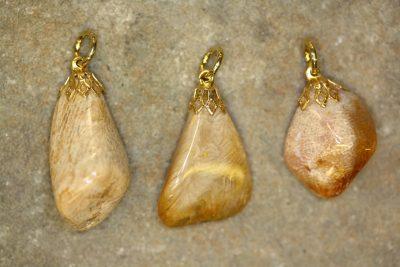 Petoskeystein tulipananheng med gullfarget topp, ca 3cm