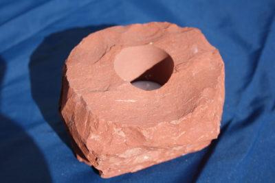 Jaspis brun T lys holder 1.3kg 7cm høy
