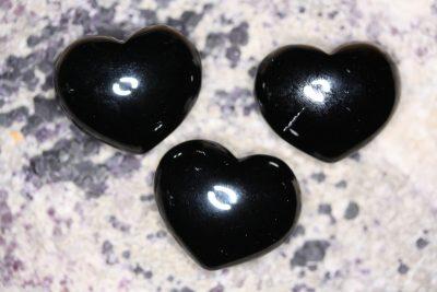 Obsidian sort lommehjerte 35mm