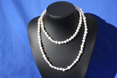Perle hvit 9/10mm kjede 90cm uten lås