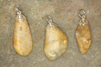 Petoskeystein tulipananheng med sølvfarget topp, ca 3cm
