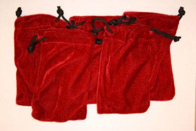 Smykkepose rød fløyel 7.5x12cm