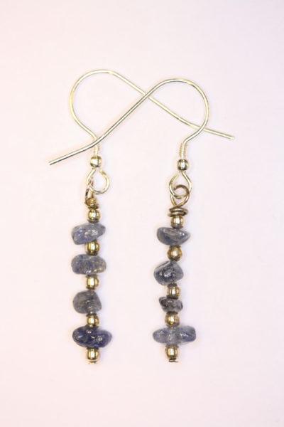 Safir blå øreheng barokk med sølvkrok