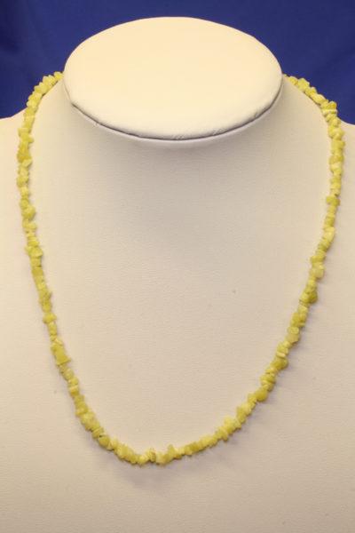 Serpentin gul steinkjede 45cm med lås