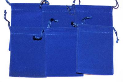 Smykkepose blå velur 7.5x10cm