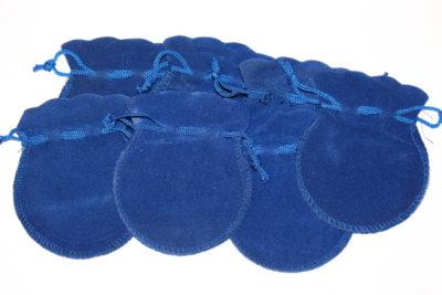 Smykkepose blå velur 8x9cm