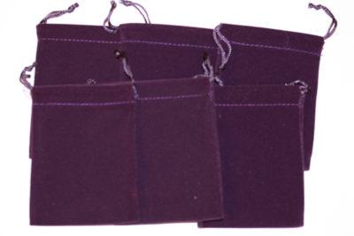 Smykkepose lilla velur 7.5x10cm