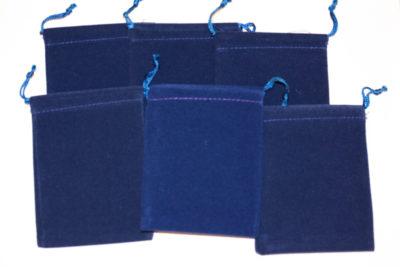Smykkepose mørkblå velur 7.5x10cm
