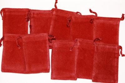 Smykkepose burgunderrød velur 5x8cm