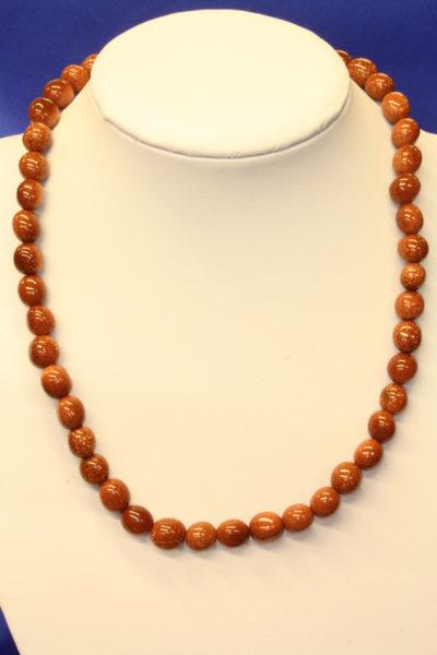 Stjernestein gull trommelkjede 8-10mm stein 45cm med lås Syntetisk