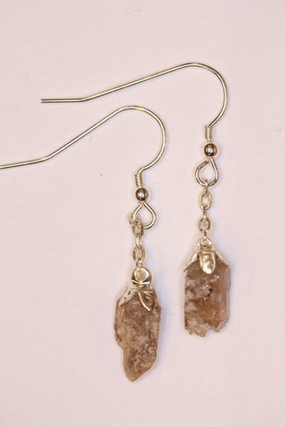 Topas gyllen Utah øreheng krystaller med sølvkrok 2 krystaller