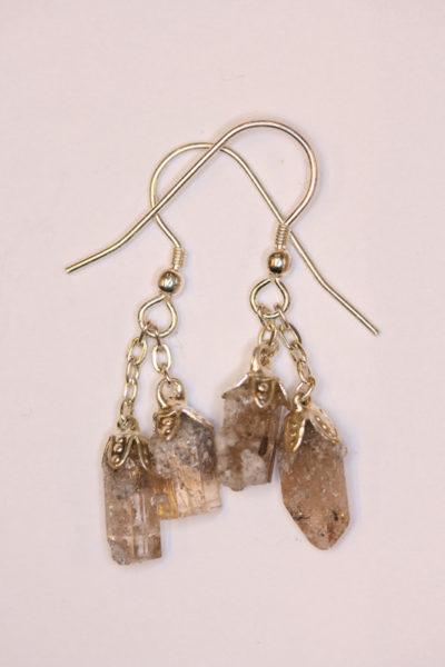 Topas gyllen Utah øreheng krystaller med sølvkrok 4 krystaller