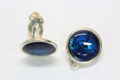 Abalone sølv øreklips med ø 12mm stein