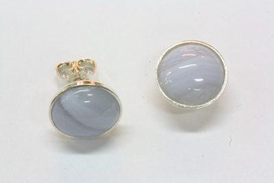 Agat Blonde sølv ørestikker med ø 10mm stein