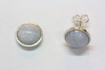 Agat Blonde sølv ørestikker med ø 8mm stein