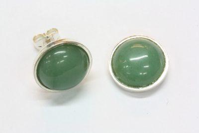 Aventurin grønn B sølv ørestikker med ø 10mm stein