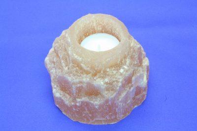 Selenitt oransj A T lys holder 0.95kg 8.5cm høy