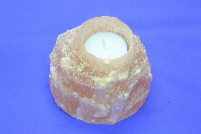 Selenitt oransj B T lys holder 0.85kg 7.5cm høy