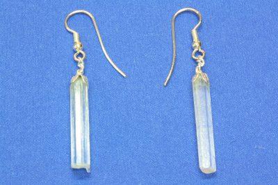 Aquamarin A krystall øreheng med 2 krystaller og sølvkrok
