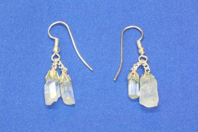 Aquamarin A krystall øreheng med 4 krystaller og sølvkrok