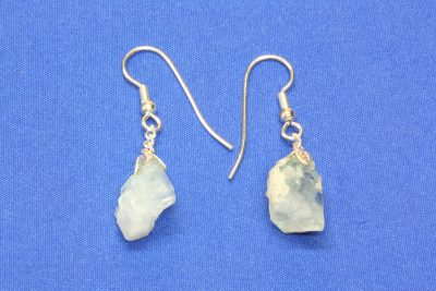 Aquamarin B krystall øreheng med 2 krystaller og sølvkrok