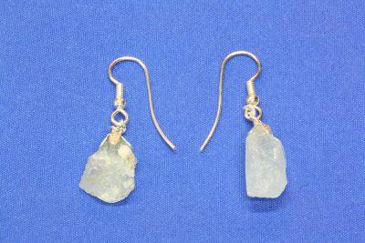Aquamarin C krystall øreheng med 2 krystaller og sølvkrok