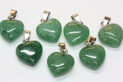 Aventurin grønn hjerteanheng ca 15x8mm